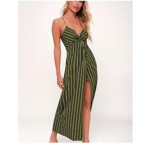 Lulus J.O.A. Scotty Olive Green Striped Maxi Dress